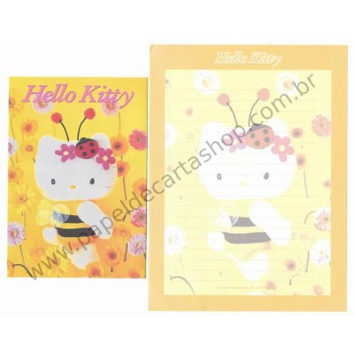 Ano 2000. Conjunto de Papel de Carta Hello Kitty 25th Abelha Pelúcia Sanrio