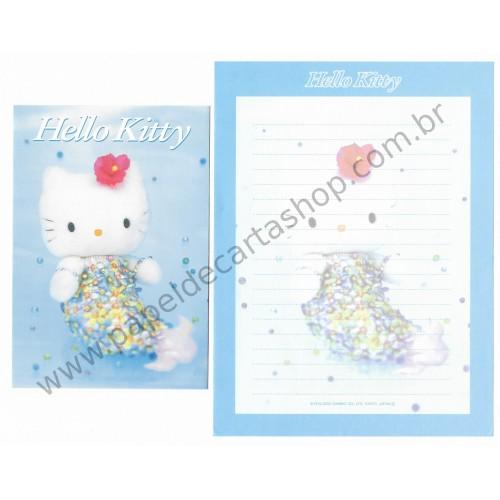 Ano 2000. Conjunto de Papel de Carta Hello Kitty 25th Sereia Pelúcia Sanrio