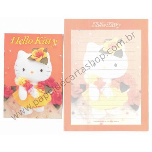 Ano 2000. Conjunto de Papel de Carta Hello Kitty 25th Flores Pelúcia Sanrio