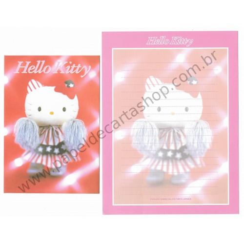 Ano 2001. Conjunto de Papel de Carta Hello Kitty Cheerleader Pelúcia Sanrio