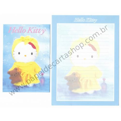 Ano 2001. Conjunto de Papel de Carta Hello Kitty Pelúcia Sanrio