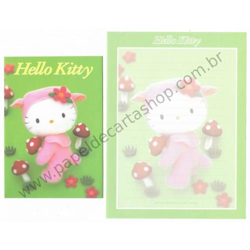 Ano 2001. Conjunto de Papel de Carta Hello Kitty & Cogumelos Pelúcia Sanrio