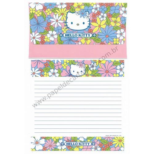 Ano 2001. Conjunto de Papel de Carta Hello Kitty Flores COR Sanrio
