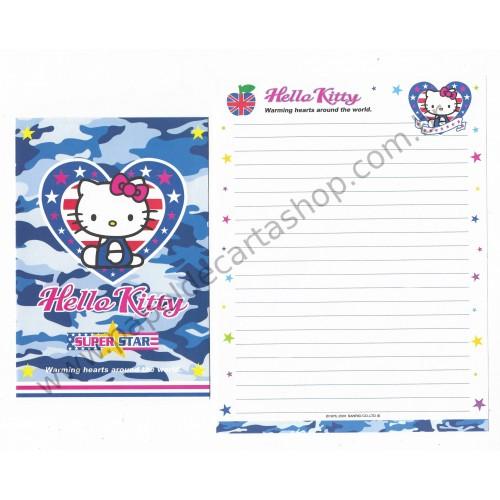 Ano 2001. Conjunto de Papel de Carta Hello Kitty Super Star Sanrio