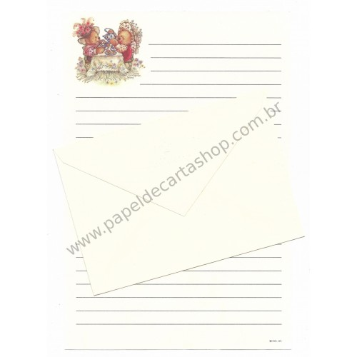 Conjunto de Papel de Carta Antigo Importado Mary Hamilton BEAR 05 - Hallmark