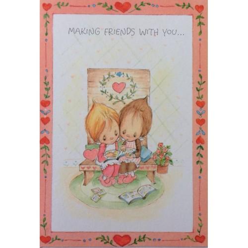 Ano 1975. Cartão ANTIGO IMPORTADO Betsey Clark Friends Valentines Hallmark