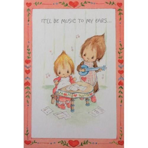 Ano 1976. Cartão ANTIGO com Envelope Betsey Clark Valentines Music Hallmark