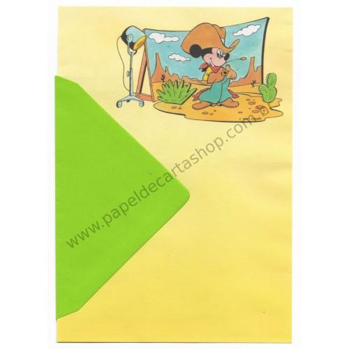Conjunto de Papel de Carta ANTIGO VINTAGE Personagens Disney Cowboy Mickey