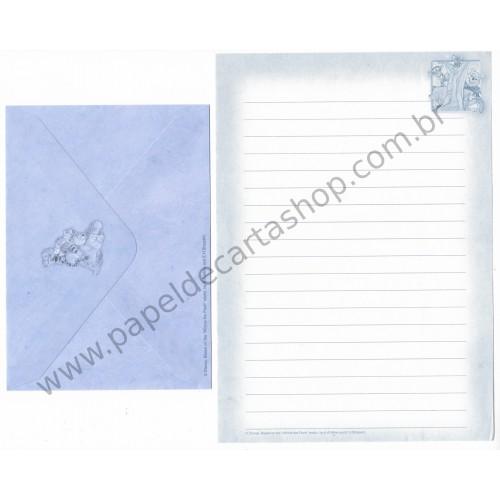 Conjunto de Papel de Carta ANTIGO VINTAGE Pooh (Blue)
