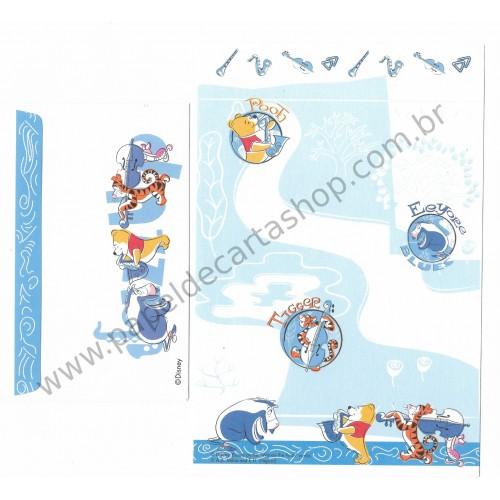 Conjunto de Papel de Carta Importado Disney Pooh & Friends CBP