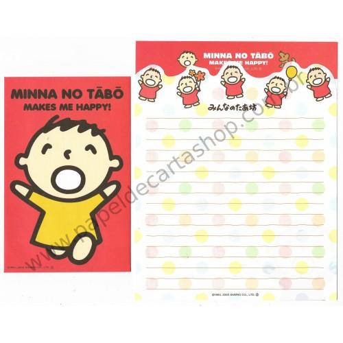 Ano 2005. Conjunto de Papel de Carta Antigo (Vintage) Minna no Tabo DUPLA Sanrio