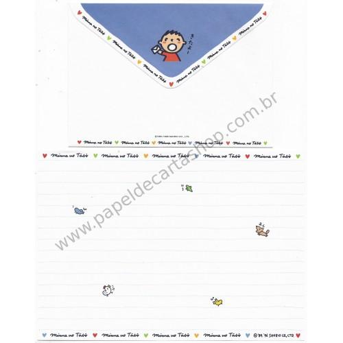 Ano 1996. Conjunto de Papel de Carta Antigo (Vintage) Minna no Tabo Sanrio