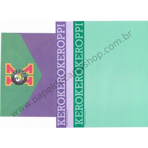 Ano 1993. Conjunto de Papel de Carta Keroppi DUPLA Vintage Sanrio