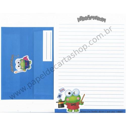 Ano 1992. Conjunto de Papel de Carta Keroppi MAGIC Vintage Sanrio