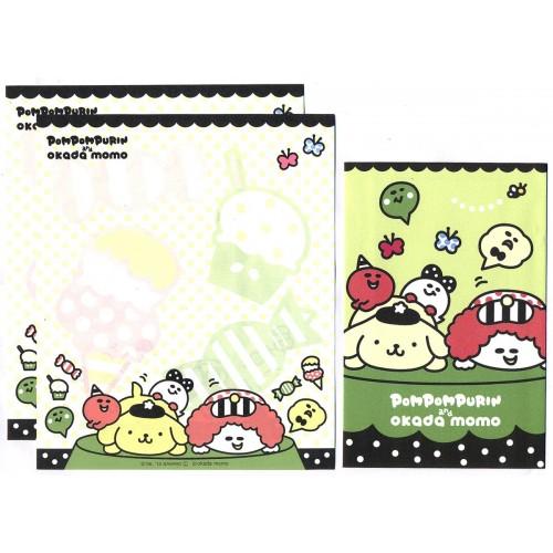 Ano 2012. Kit 4 Conjuntos de Papel de Carta PomPomPurin & Okada Momo Sanrio