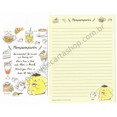Ano 2016. Conjunto de Papel de Carta Pompompurin Sweets CAM - Sanrio