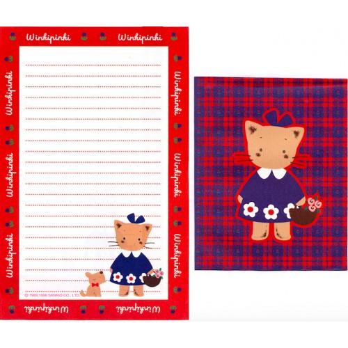 Ano 1996. Conjunto de Papel de Carta Winkipinki RED Antigo (Vintage) Sanrio