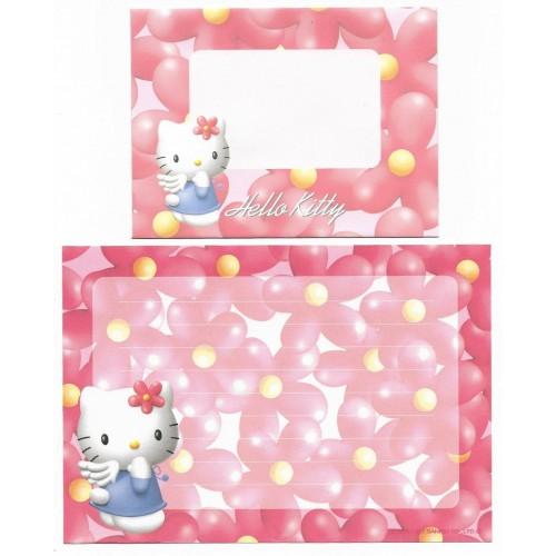 Ano 1997. Conjunto de Mini-Papel de Carta Hello Kitty Flores Antigo (Vintage) Sanrio