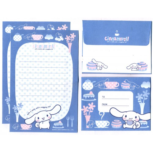 Ano 2005. Conjunto de Mini-Papel de Carta Cinnamoroll CAZ Sanrio