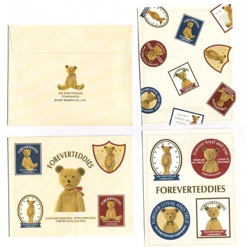 Ano 1997. Conjunto de Mini-Papel de Carta Forever Teddies Vintage Sanrio