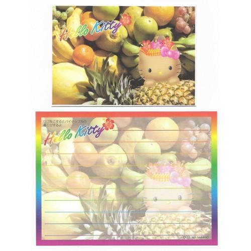 Ano 2002. Conjunto de MINI-Papel de Carta Hello Kitty Hawaii Frutas Sanrio