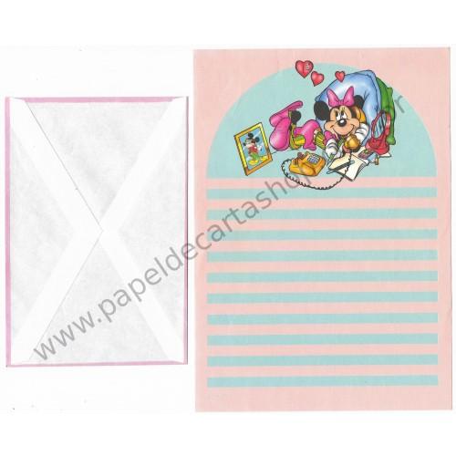 Conjunto de Papel de Carta ANTIGO Personagens Disney Minnie