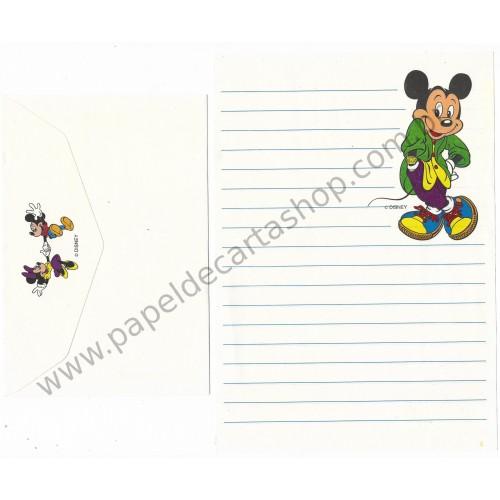 Conjunto de Papel de Carta ANTIGO Personagens Disney Mickey Branco