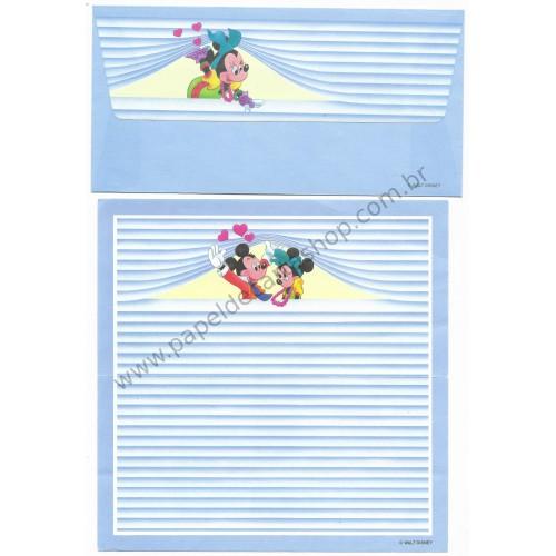 Conjunto de Papel de Carta Disney Mickey & Minnie Blue Stripes
