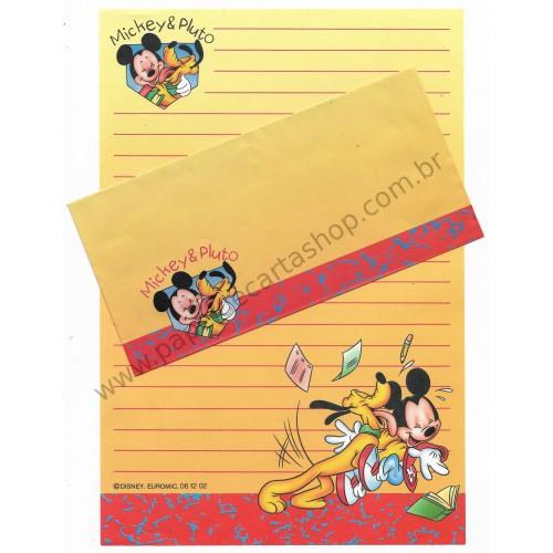 Conjunto de Papel de Carta Antigo Importado Disney Mickey & Pluto