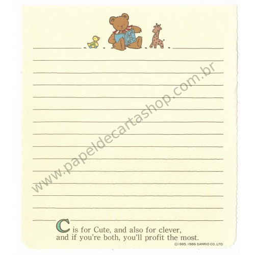 Ano 1986. Conjunto de Papel de Carta Holly's Bear Vintage Sanrio