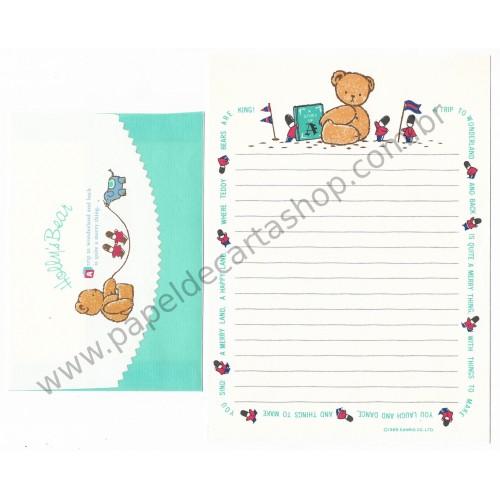 Ano 1985. Conjunto de Papel de Carta Holly's Bear Vintage Sanrio