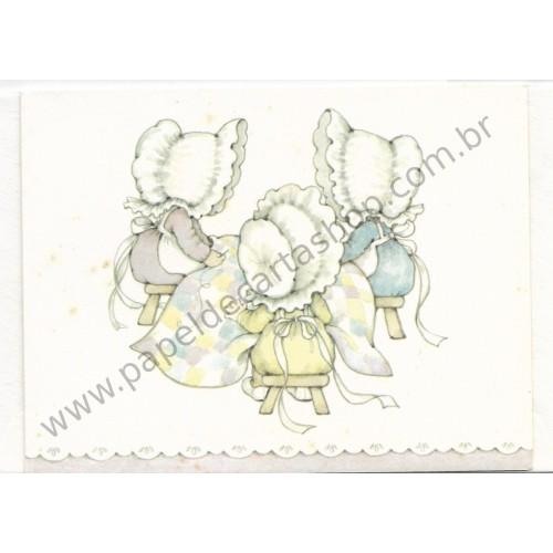 Notecard Antigo Importado Sun Bonnet Sewing - Hallmark