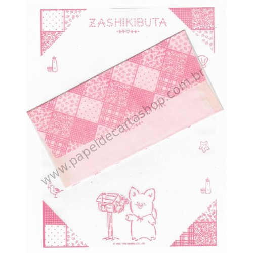 Ano 1989. Conjunto de Papel de Carta Zashikibuta CBE Antigo (Vintage) Sanrio