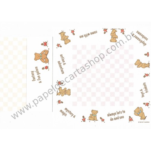 Ano 1987. Conjunto de Papel de Carta Holly's Bear CBR Vintage Sanrio