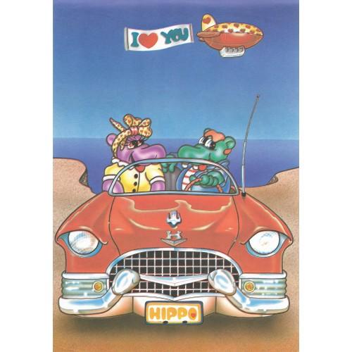 Papel de Carta ANTIGO A4 HIPPO I Love You