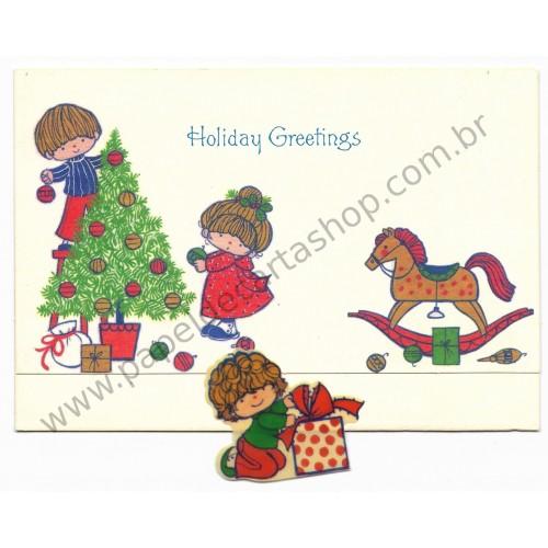 Postalete Antigo Importado Holiday Greetings Hallmark