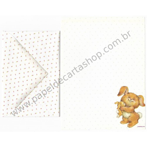 Conjunto de Papel de Carta Antigo Importado Hug Some Bunny - Montag