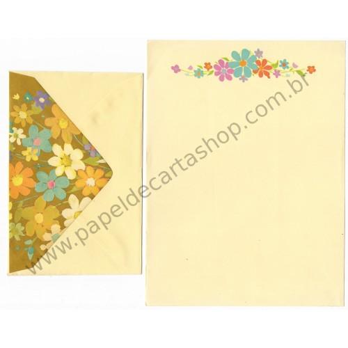 Conjunto de Papel de Carta Antigo Importado Amarelo Flores