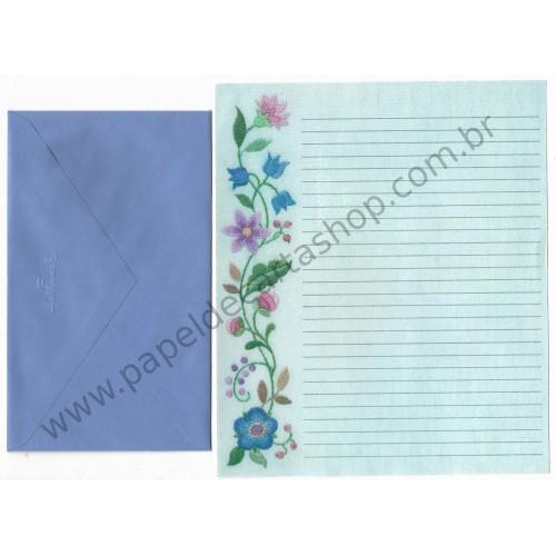 Conjunto de Papel de Carta Antigo Importado Flores Blue - Hallmark
