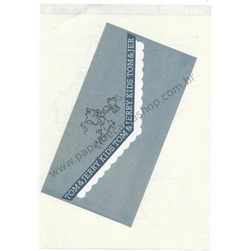 Ano 1993. Conjunto de Papel de Carta Importado Tom and Jerry Kids Blue