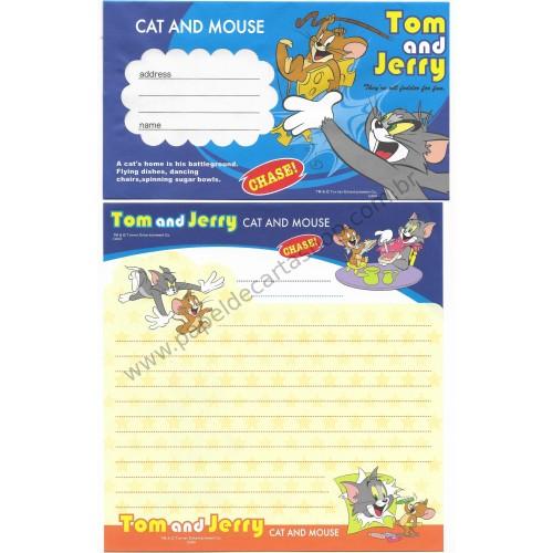 Conjunto de Papel de Carta IMPORTADO Tom & Jerry (s04) AZUL