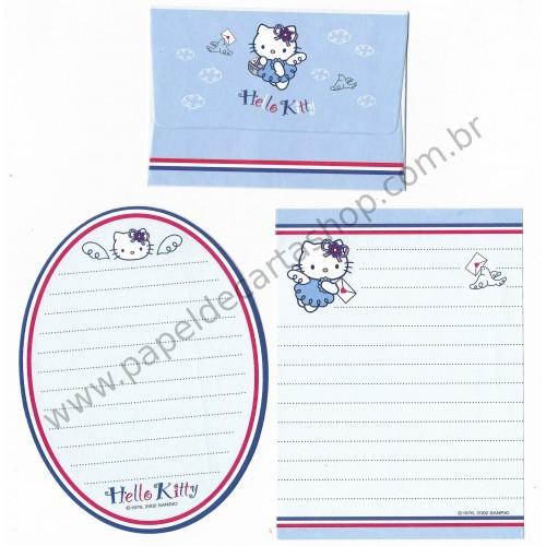 Ano 2002. Conjunto de Mini-Papel de Carta Hello Kitty French Sanrio