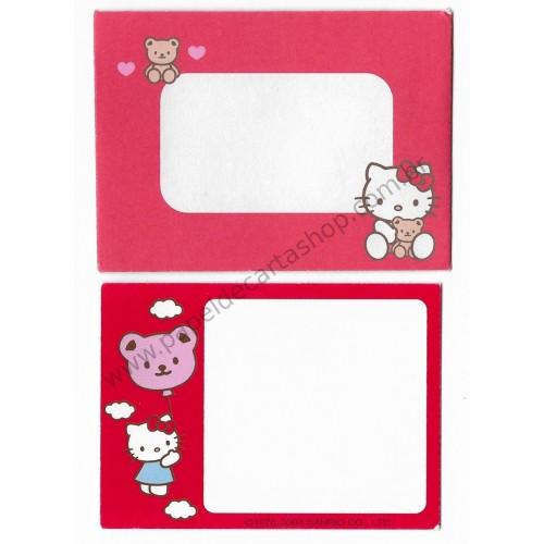 Ano 2004. Mini-Cartão Hello Kitty & Bear Sanrio
