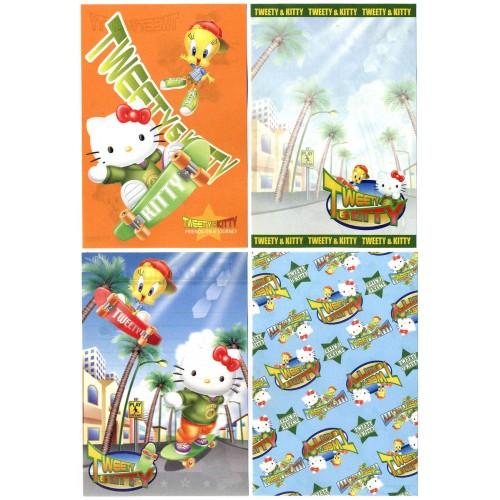 Ano 2002. Kit 4 Notas Hello Kitty & Tweety PSkating Sanrio