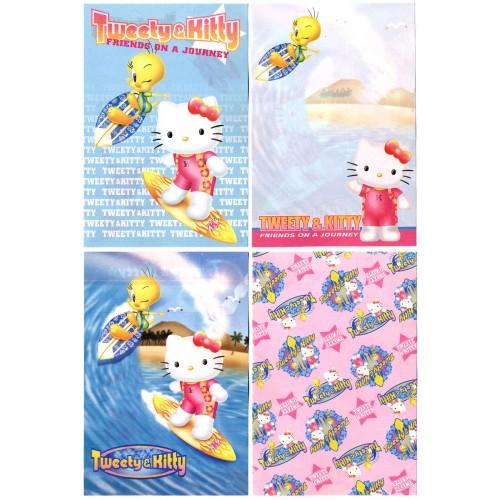 Ano 2002. Kit 4 Notas Hello Kitty & Tweety PSurf Sanrio