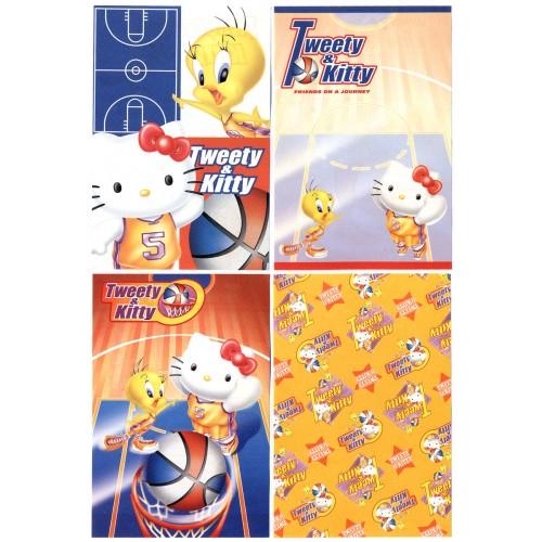 Ano 2002. Kit 4 Notas Hello Kitty & Tweety PBasketball Sanrio