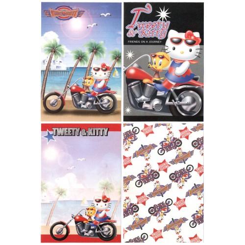 Ano 2002. Kit 4 Notas Hello Kitty & Tweety PMotorcycle Sanrio