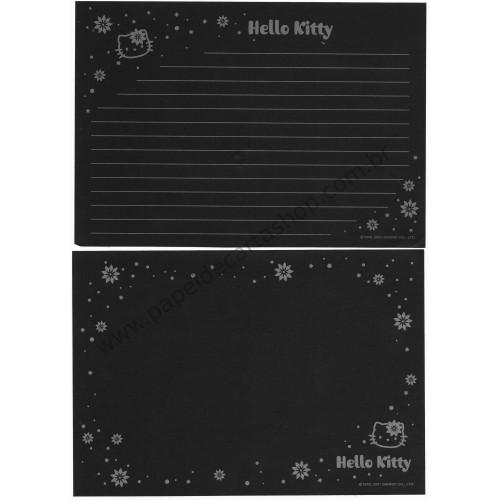 Ano 2001. Conjunto de Papel de Carta Hello Kitty Silver & Black Sanrio