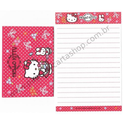 Ano 2009. Conjunto de Mini-Papel de Carta Hello Kitty (CVM) Sanrio