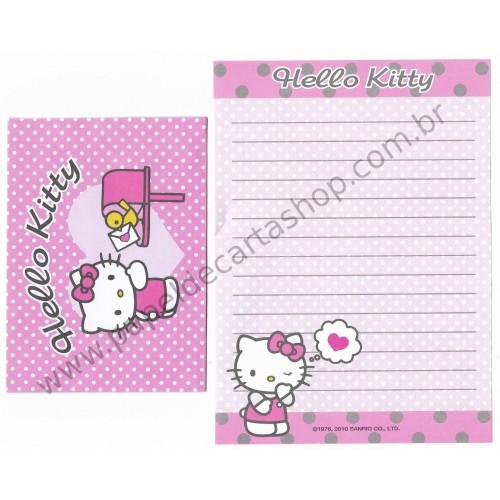 Ano 2010. Conjunto de Mini-Papel de Carta Hello Kitty (CLL) Sanrio